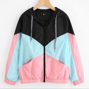 Multicolor hooded windbreaker jacket